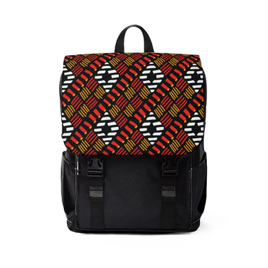 White Diamond Pattern Backpack