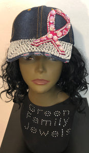 Breast Cancer Awareness Bling Hat 2