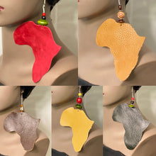 Africa Shaped Leather Earrings