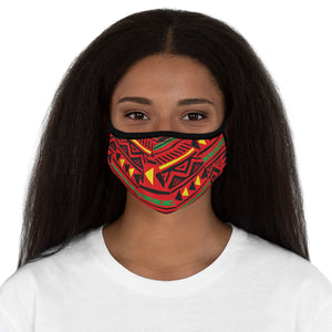 Red Tribal Fitted Polyester Face Mask