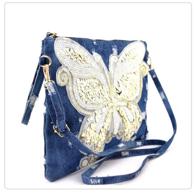 Denim Butterfly Clutch/ Wristlet/ Crossover