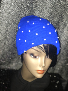 Royal Blue Beanie with Pearls