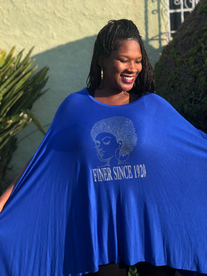 Finer Since 1920 Royal Blue Sleeveless Poncho