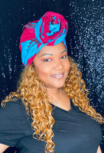 Pink and Blue Pre-tied Headwrap