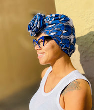 Blue and White Pre-tied Headwrap