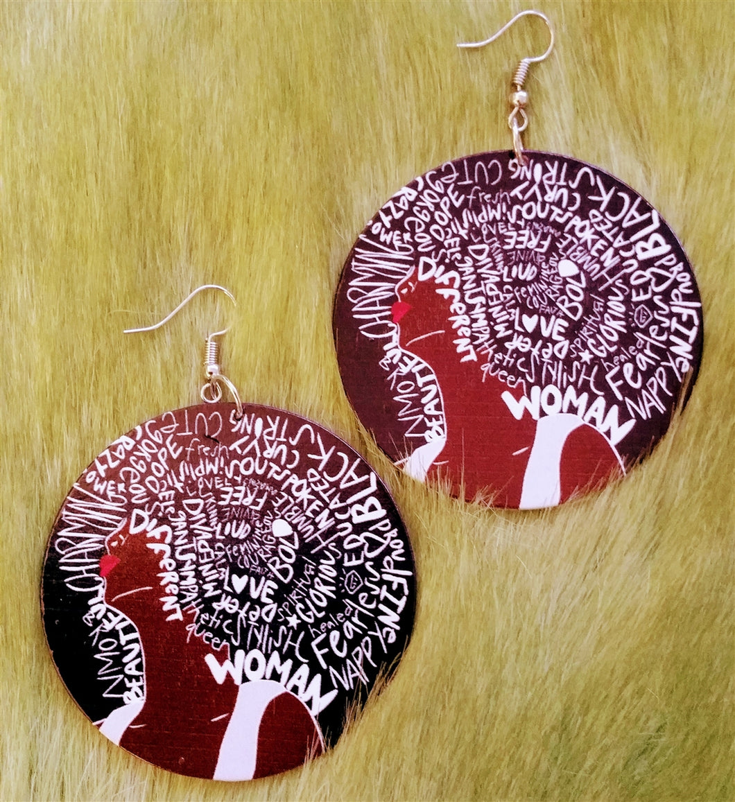 Descriptive Afro Woman Earrings