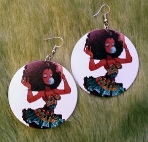 Bubblegum Afro Woman Earrings