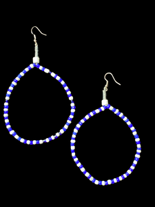Blue and White Bead Earrings