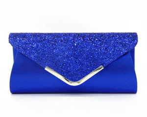 Blue Glitter Clutch Purse
