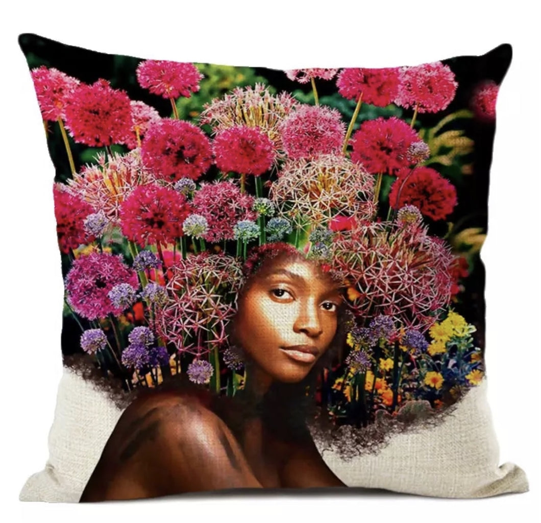 Flower Afro Queen Throw Pillows