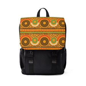 Mustard Circle Pattern Backpack