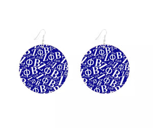 Round Zeta Phi Beta Earrings