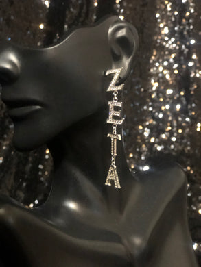 Rhinestone Zeta Dangle Earrings