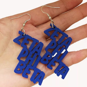 Zeta Phi Beta Wood Earrings