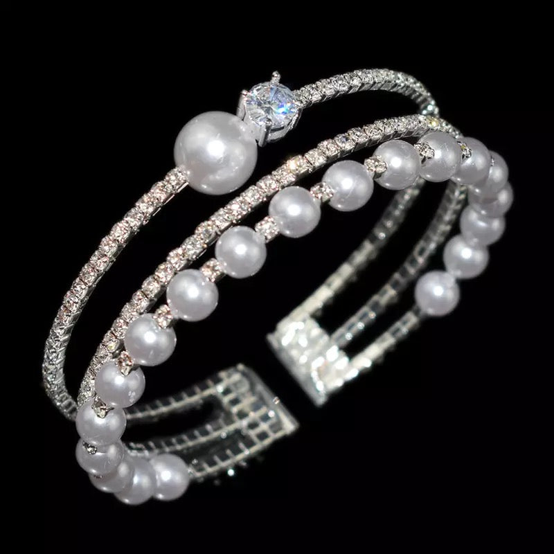 Bling and Pearls Bracelet