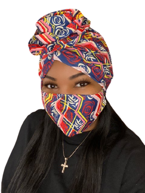 Navy Geometric Roses Turban and Mask Set