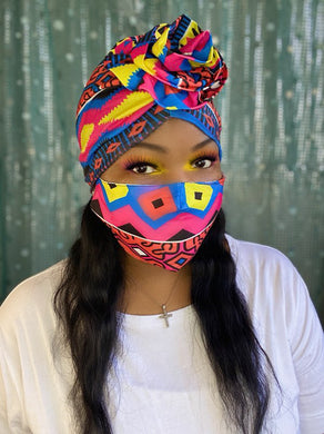 Pink and Yellow Turban and Mask Set