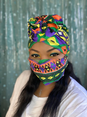 Green and Yellow Turban and Mask Set
