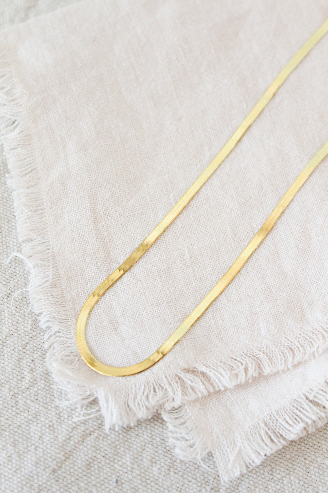 3mm Herringbone Necklace - Gold
