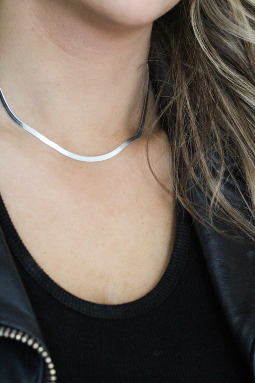 3mm Herringbone Necklace - Silver
