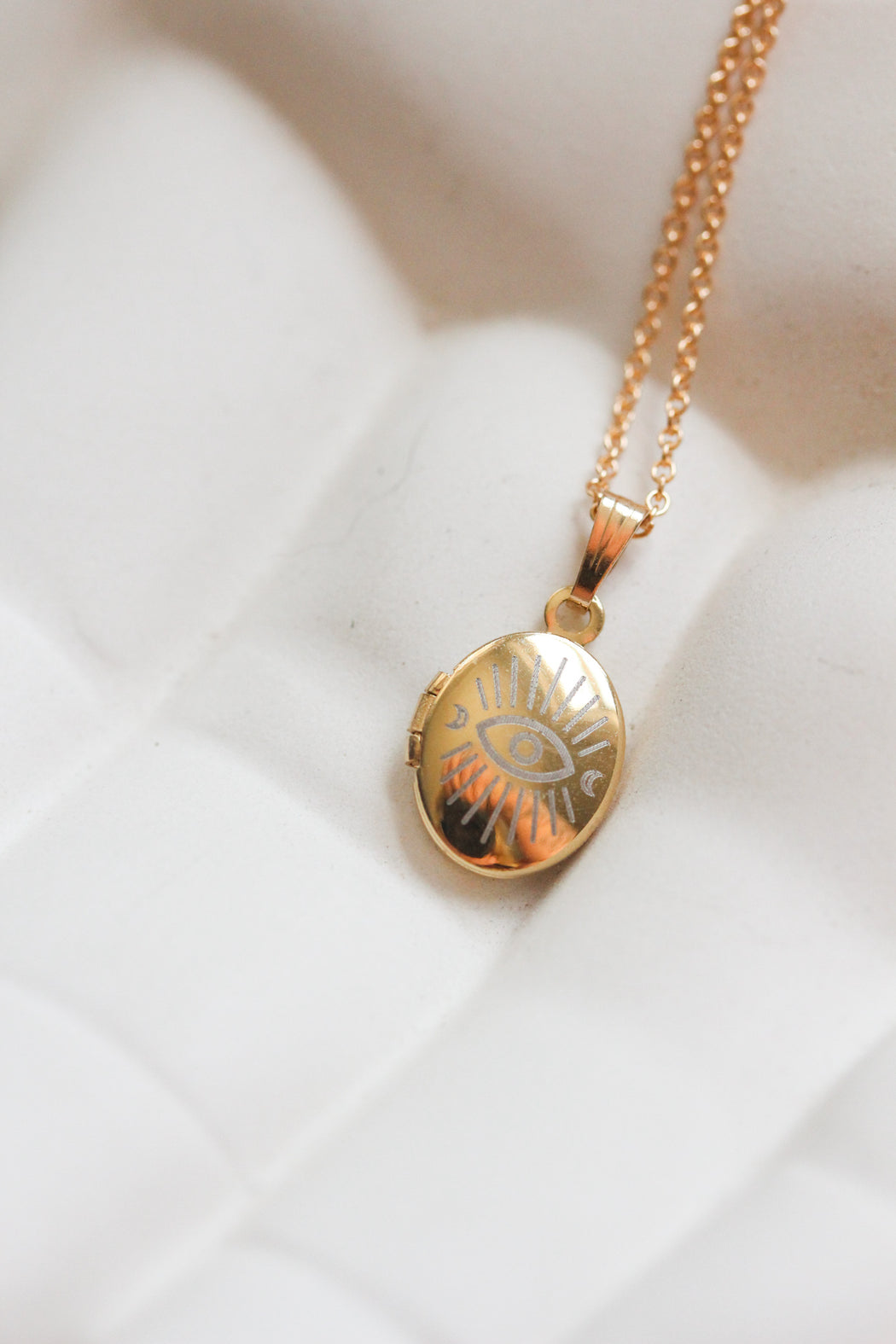 Evil Eye Oval Locket Necklace
