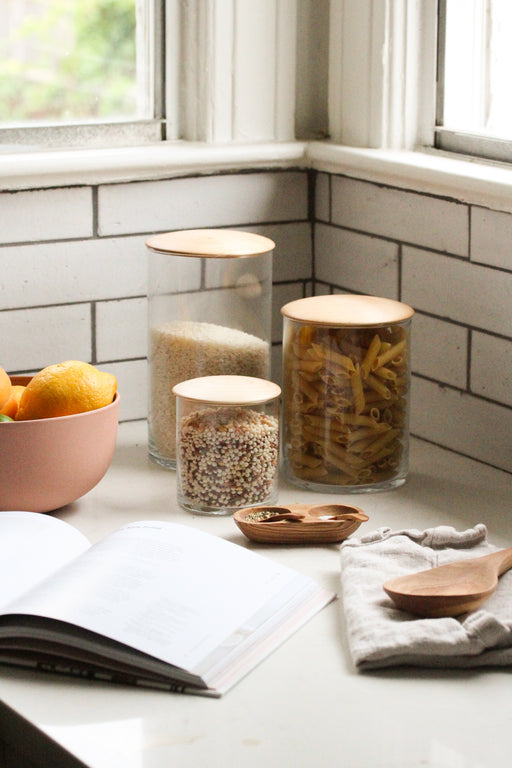 Maple and Glass Storage Containers
