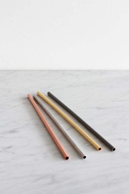 Matte Metallic Stainless Steel Straws