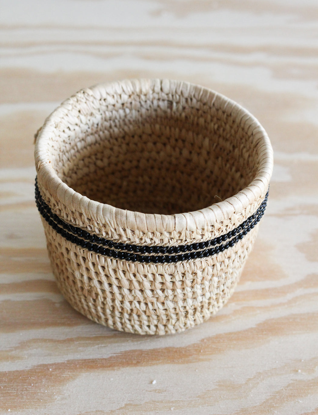 Nomadic Camel Milking Baskets with Black Beaded Stripes