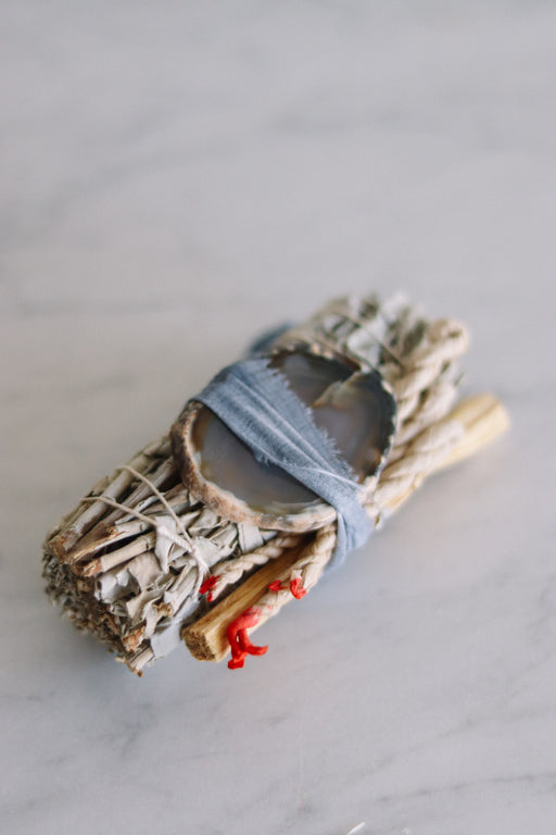 White Sage + Agate Smudge Stick
