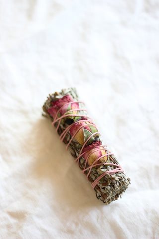 Sage Smudge Stick, Rose Buds Floral Blue Sage + Lavender