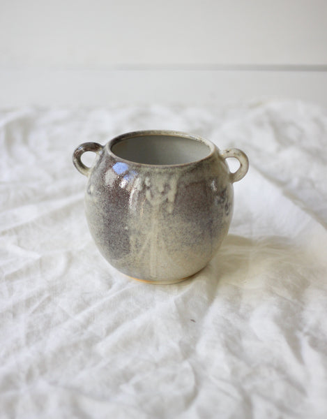 Round Vase with Handles - Grey and White