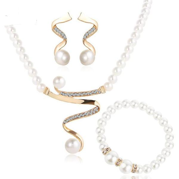 769156a94 Simulated Pearl, Alloy, And Crystal Earrings And Necklace Jewelry Set For  Women.