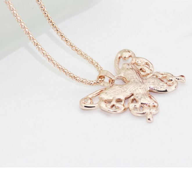 faca74f65 Fashion Womens Lady Rose Gold Opal Butterfly Pendant Necklace ...