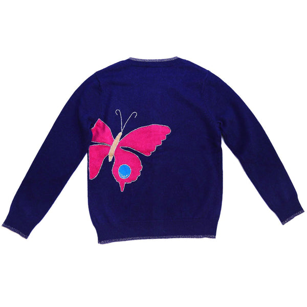 CASHMERE MIDNIGHT BLUE BUTTERFLY CARDIGAN