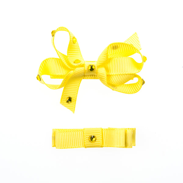 GROSGRAIN SMALL BOW SET WITH SWAROVSKI CRYSTALS