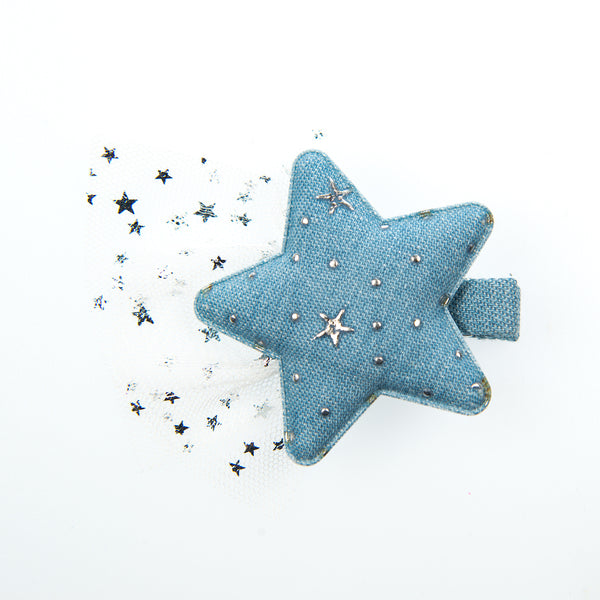 LARGE DENIM STAR WITH SPARKLE NET