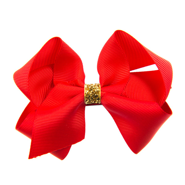 CLASSIC GROSGRAIN BOW WITH GLITTER CENTER