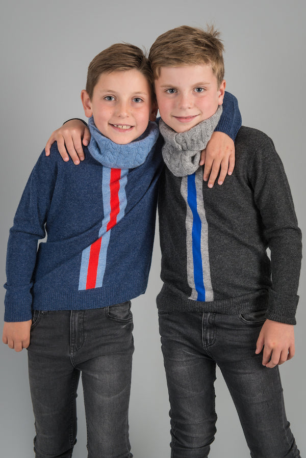 STRIPE CREW NECK CASHMERE BLEND BOY JUMPER