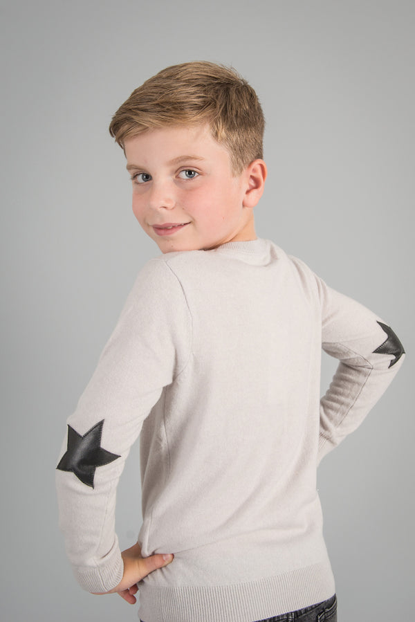PURE CASHMERE JUMPER WITH LEATHER STAR ELBOW PATCHES