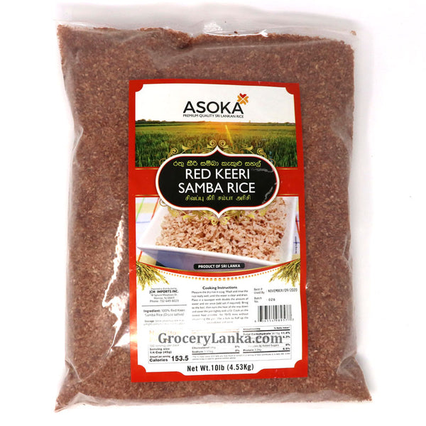 Asoka Red Keeri Raw Samba Rice 10lb - Limit 2 per Customer