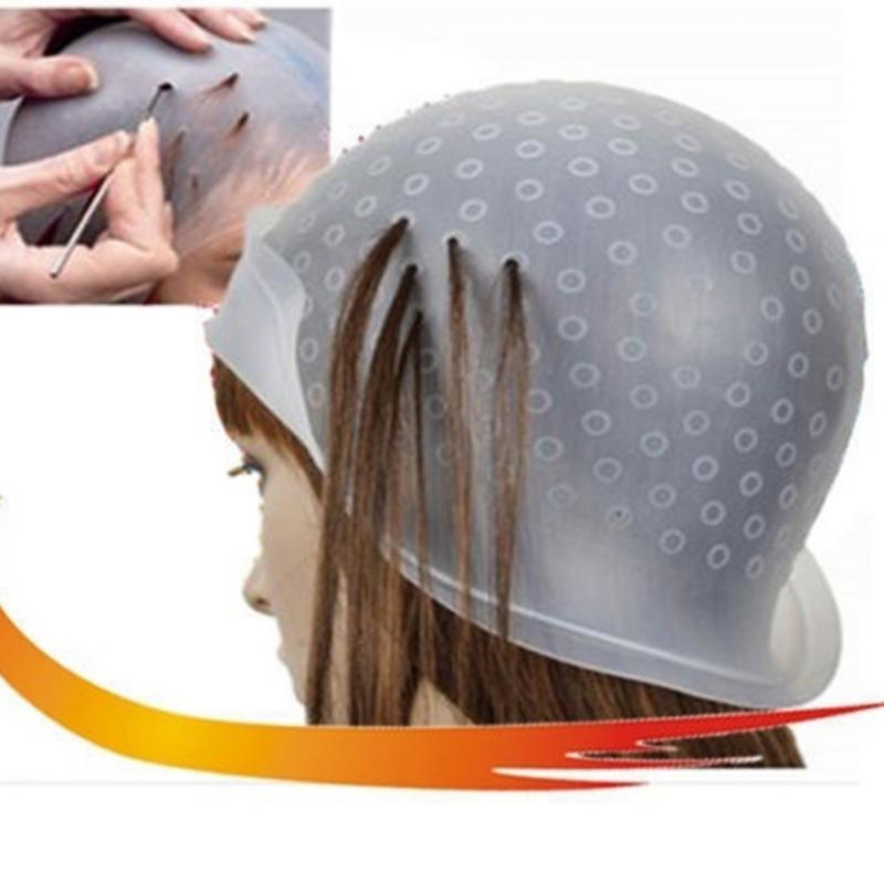 Professional Silicone Reusable Hair Coloring Highlighting Cap For Dye Glaze Tips With Needle Transparent