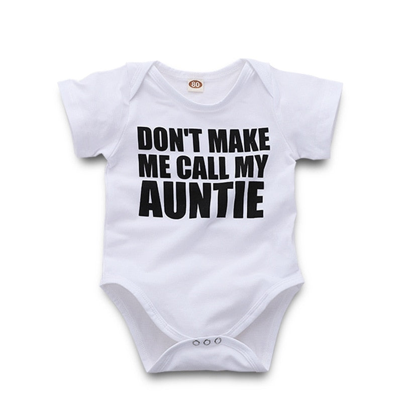 Funny Baby Body With The Inscription (Aunties) Clothes For Little Boys And Girls White Jumpsuit