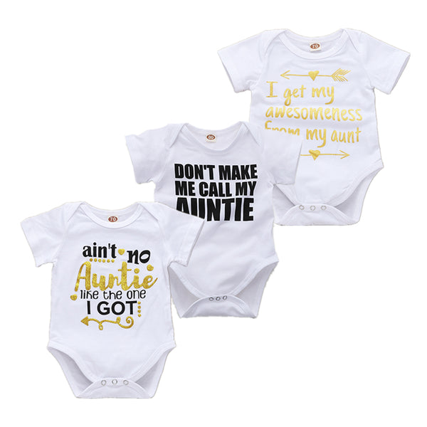 c5e916dce ... Funny Baby Body With The Inscription (Aunties) Clothes For Little Boys  And Girls White ...