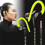 3.5mm Wired Running Earphones - Sweatproof, Loud Bass, with Microphone Sports Headset