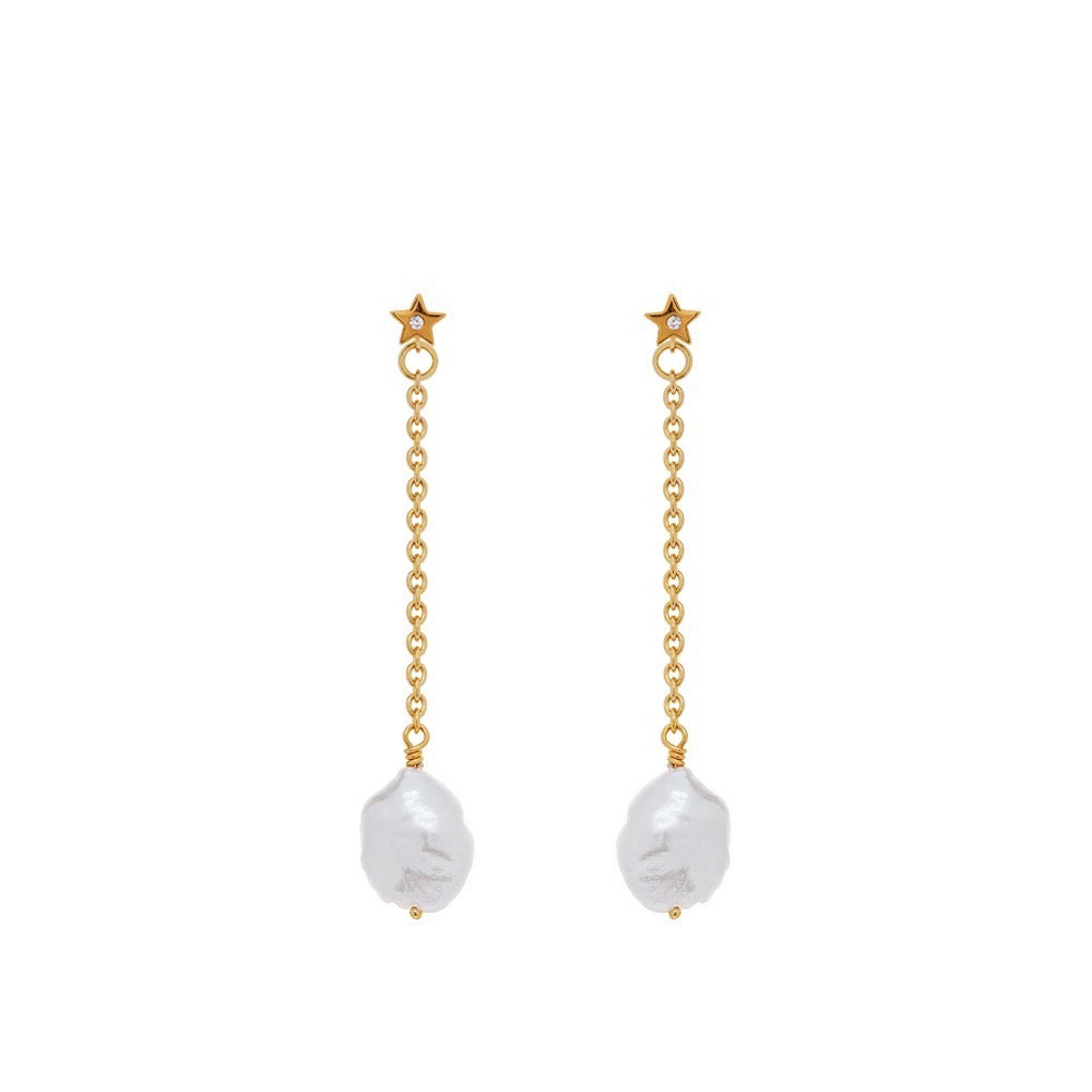 Vera - Diamond Star - Pearl - Gold - Louise Varberg Jewellery
