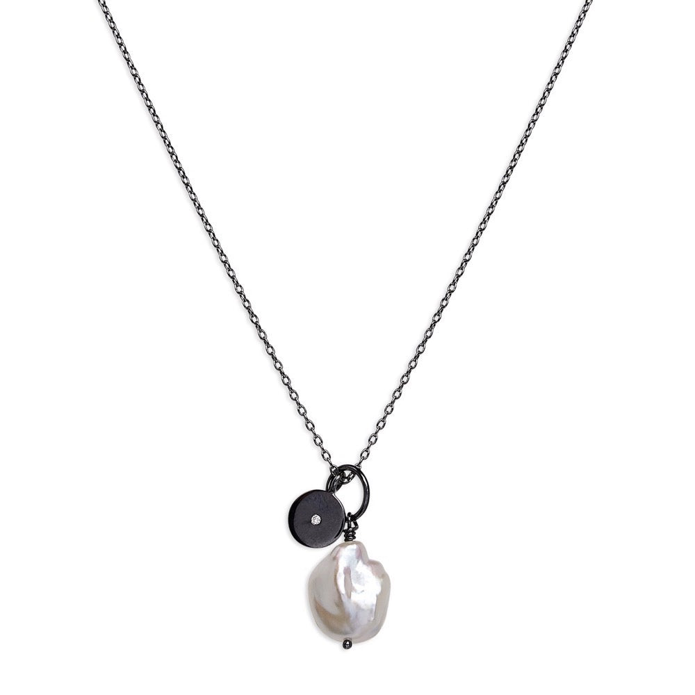 Stella - Necklace - Diamond - Baroque pearl - Black Rhodium - Louise Varberg Jewellery