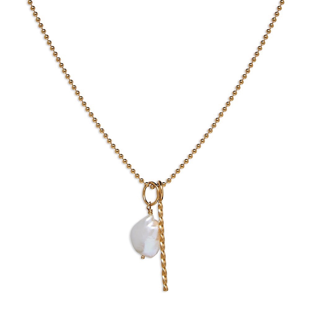 Necklace - Twist - Baroque pearl - Gold - Louise Varberg Jewellery
