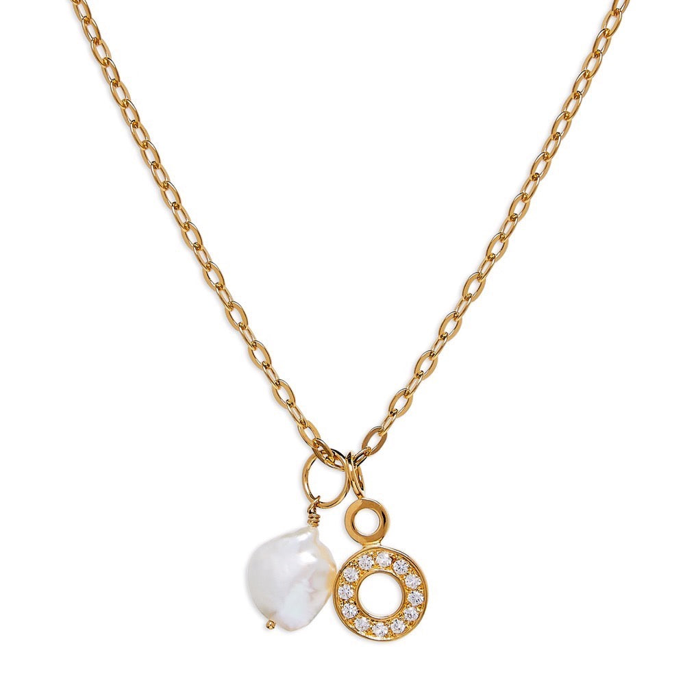 Hula- Necklace - Sapphire - Baroque pearl - Gold - Louise Varberg Jewellery