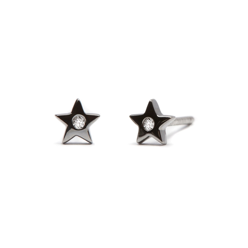 Shooting Star - Earrings - Black Rhodium - Diamond - Stud - Pair - Louise Varberg Jewellery
