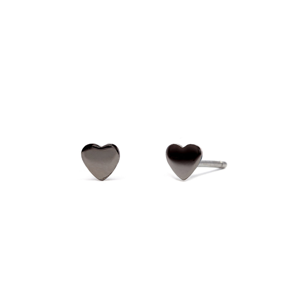 Love Heart - Earring - Black Rhodium - Stud - Single - Louise Varberg Jewellery